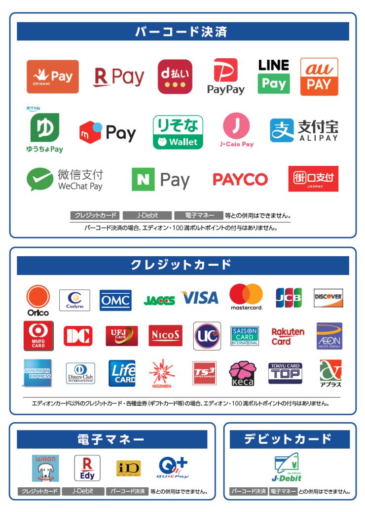お支払の方法も色々と対応しております。